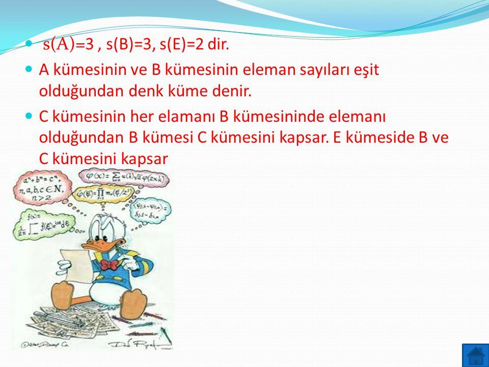 s(A)=3, s(B)=3, s(E)=2 dir.  A kümesinin ve B kümesinin eleman sayıları eşit olduğundan denk küme denir.  C kümesinin her elamanı B kümesininde el