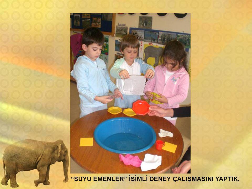"""""""SUYU EMENLER"""" İSİMLİ DENEY ÇALIŞMASINI YAPTIK."""