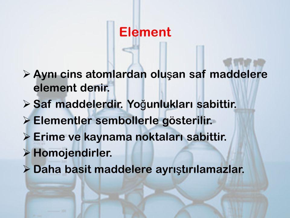 Element  Aynı cins atomlardan olu ş an saf maddelere element denir.