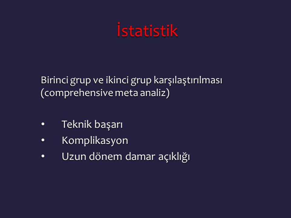 İstatistik İstatistik Birinci grup ve ikinci grup karşılaştırılması (comprehensive meta analiz) • Teknik başarı • Komplikasyon • Uzun dönem damar açık