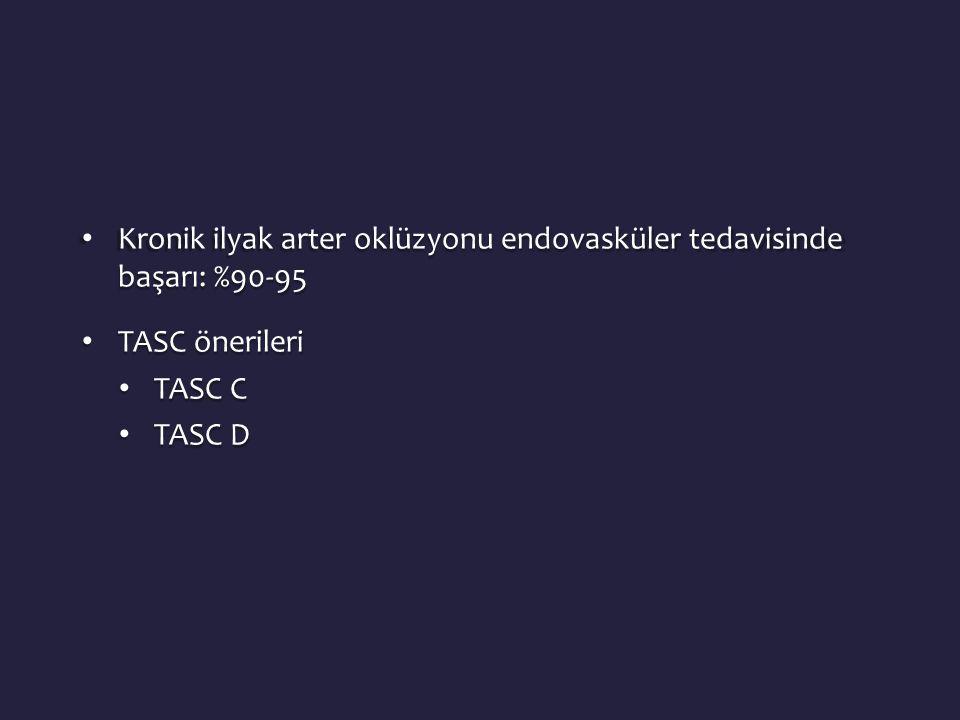 • Kronik ilyak arter oklüzyonu endovasküler tedavisinde başarı: %90-95 • TASC önerileri • TASC C • TASC D