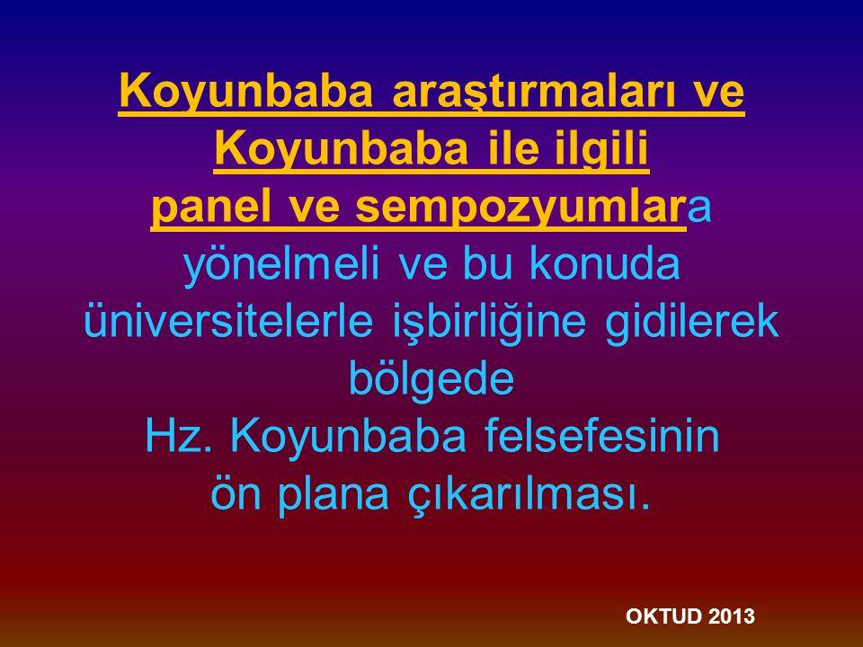 Koyunbaba araştırmaları ve Koyunbaba ile ilgili panel ve sempozyumlara yönelmeli ve bu konuda üniversitelerle işbirliğine gidilerek bölgede Hz.