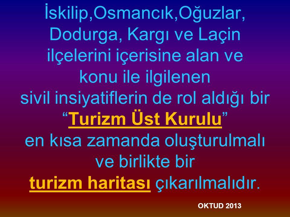 İskilip,Osmancık,Oğuzlar, Dodurga, Kargı ve Laçin ilçelerini içerisine alan ve konu ile ilgilenen sivil insiyatiflerin de rol aldığı bir Turizm Üst Kurulu en kısa zamanda oluşturulmalı ve birlikte bir turizm haritası çıkarılmalıdır.