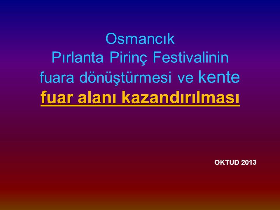 fuar alanı kazandırılması Osmancık Pırlanta Pirinç Festivalinin fuara dönüştürmesi ve kente fuar alanı kazandırılması OKTUD 2013