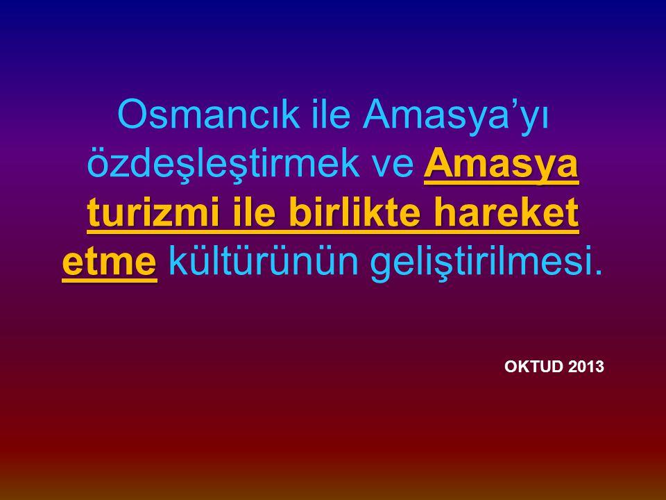 Amasya turizmi ile birlikte hareket etme Osmancık ile Amasya'yı özdeşleştirmek ve Amasya turizmi ile birlikte hareket etme kültürünün geliştirilmesi.