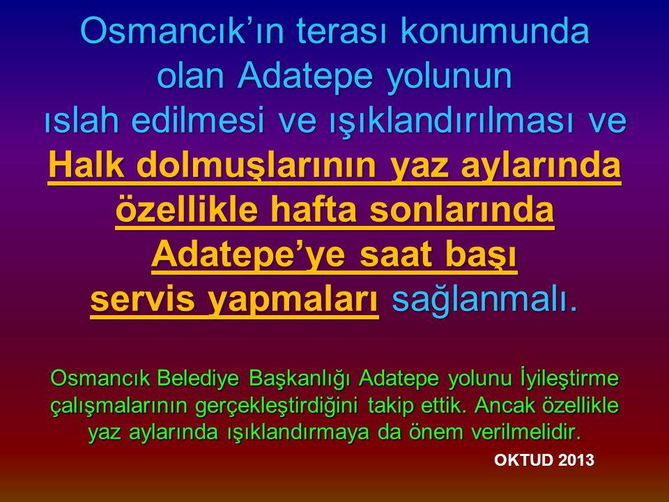 Osmancık'ın terası konumunda olan Adatepe yolunun ıslah edilmesi ve ışıklandırılması ve Halk dolmuşlarının yaz aylarında özellikle hafta sonlarında Adatepe'ye saat başı servis yapmaları sağlanmalı.