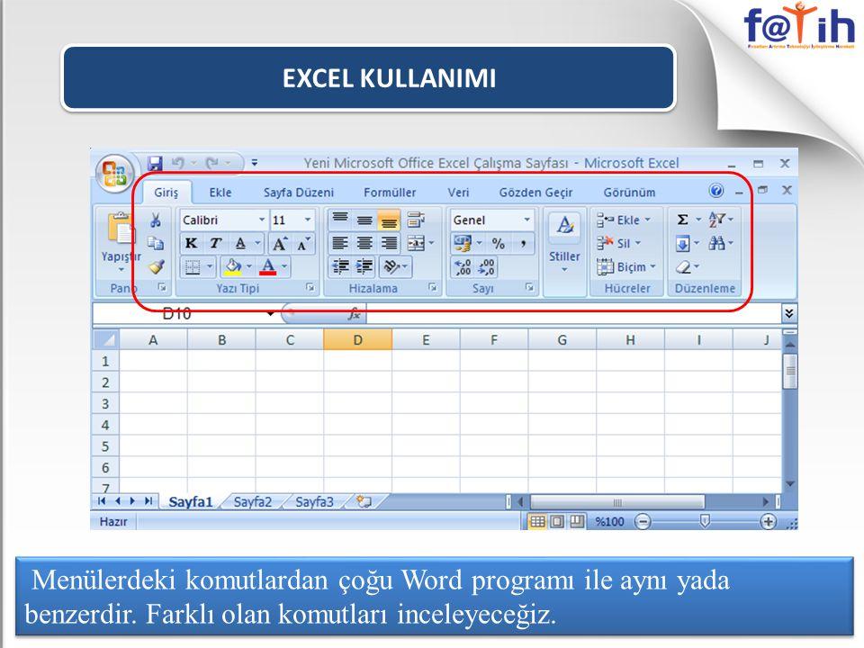 EXCEL KULLANIMI Menülerdeki komutlardan çoğu Word programı ile aynı yada benzerdir.