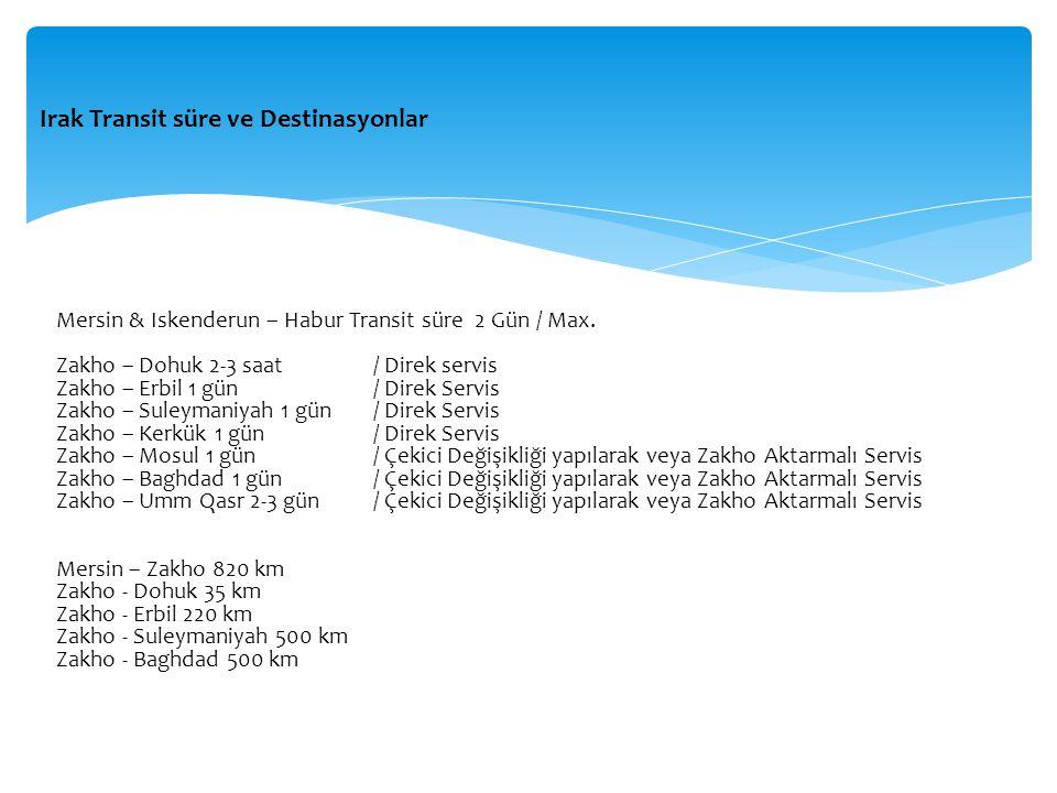 Irak Transit süre ve Destinasyonlar Mersin & Iskenderun – Habur Transit süre 2 Gün / Max. Zakho – Dohuk 2-3 saat / Direk servis Zakho – Erbil 1 gün /