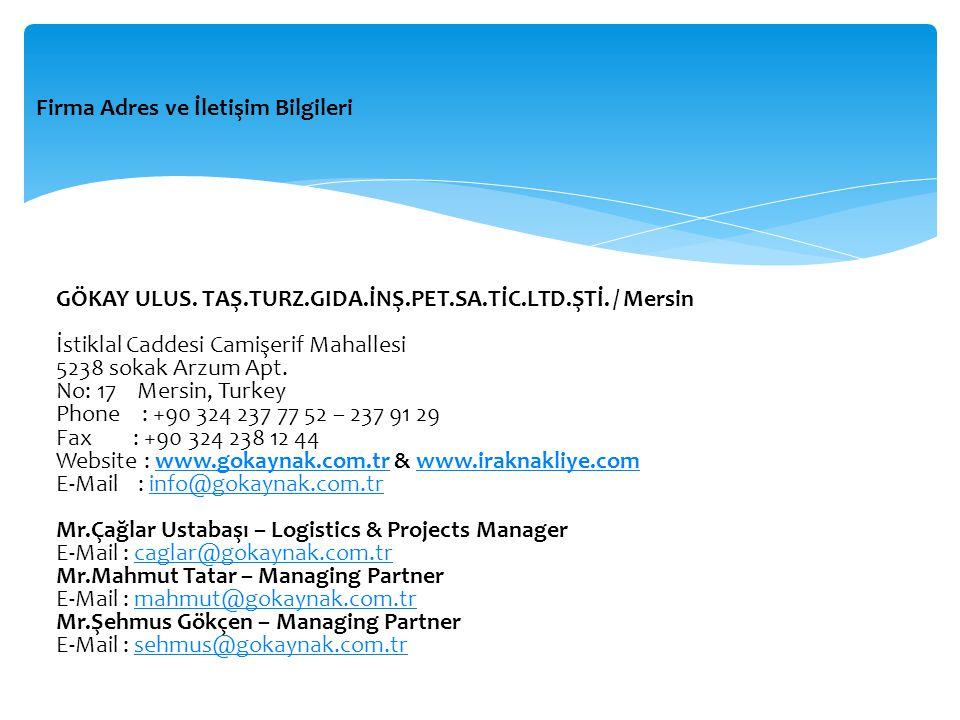 Firma Adres ve İletişim Bilgileri GÖKAY ULUS.TAŞ.TURZ.GIDA.İNŞ.PET.SA.TİC.LTD.ŞTİ.