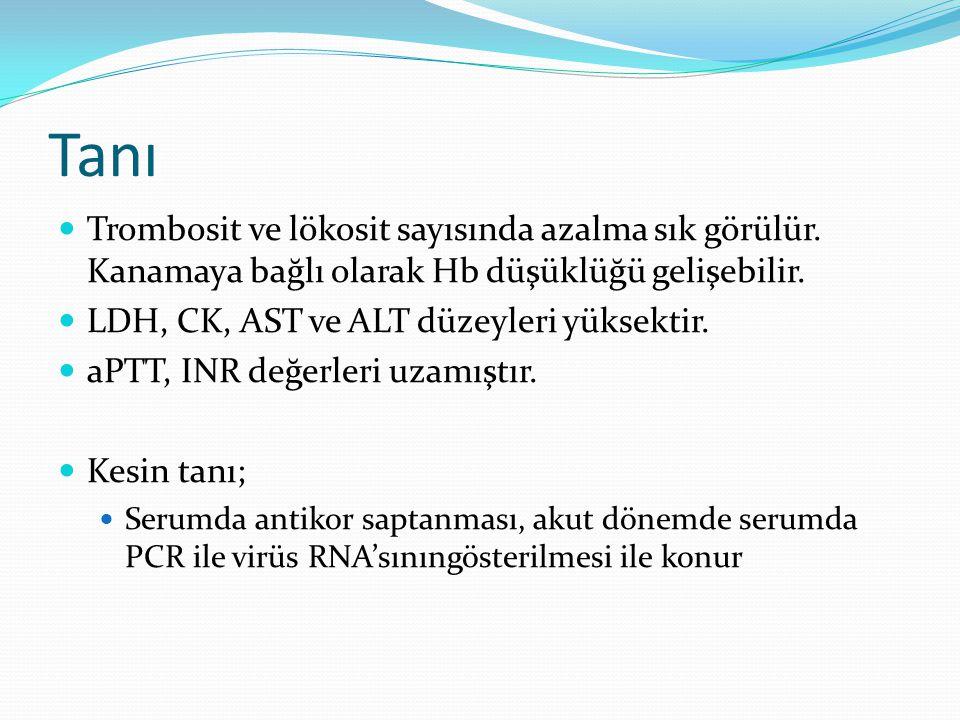 Tanı  Trombosit ve lökosit sayısında azalma sık görülür. Kanamaya bağlı olarak Hb düşüklüğü gelişebilir.  LDH, CK, AST ve ALT düzeyleri yüksektir. 