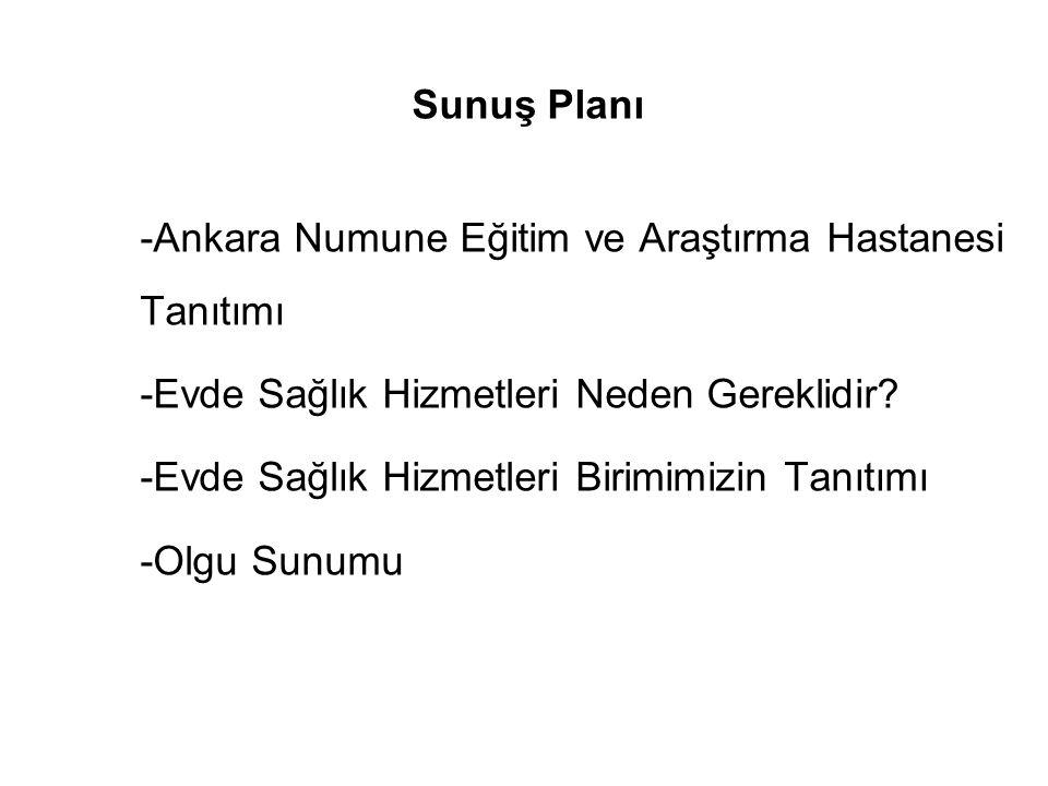 Sunuş Planı -Ankara Numune Eğitim ve Araştırma Hastanesi Tanıtımı -Evde Sağlık Hizmetleri Neden Gereklidir.