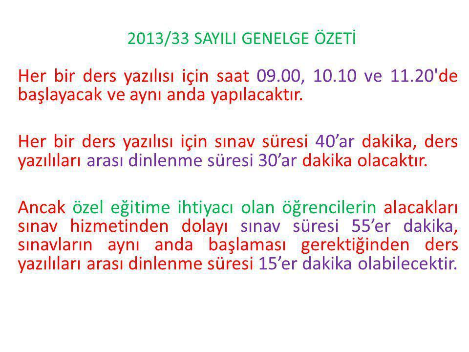 Her bir ders yazılısı için saat 09.00, 10.10 ve 11.20 de başlayacak ve aynı anda yapılacaktır.