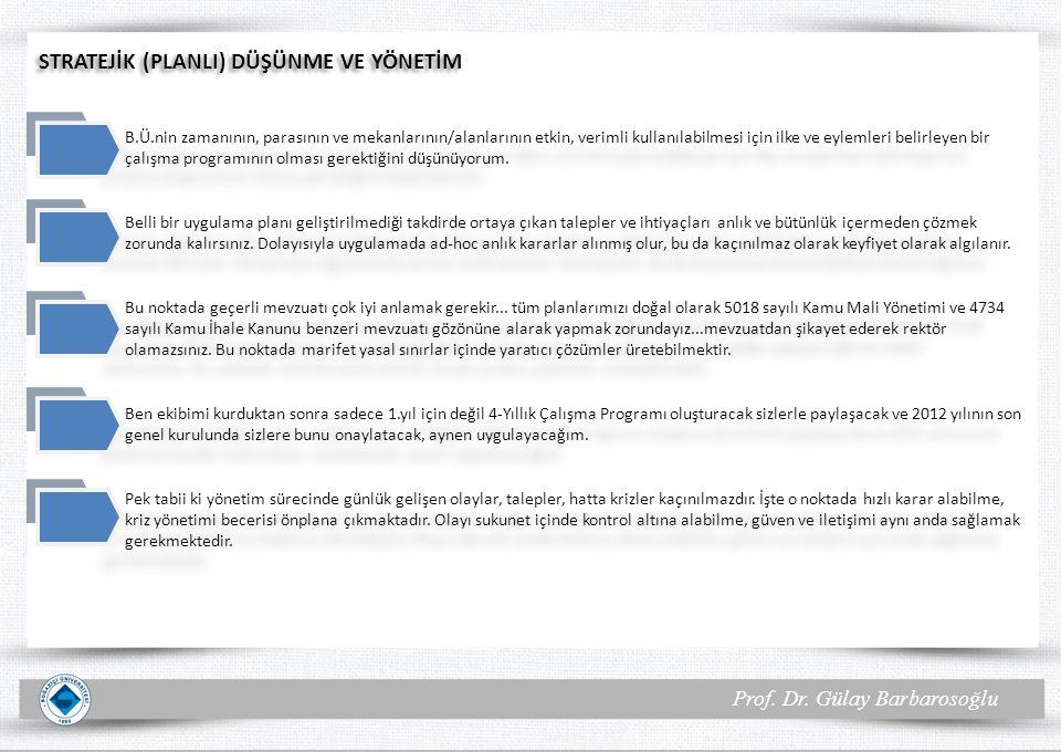 Prof. Dr. Gülay Barbarosoğlu STRATEJİK (PLANLI) DÜŞÜNME VE YÖNETİM B.Ü.nin zamanının, parasının ve mekanlarının/alanlarının etkin, verimli kullanılabi