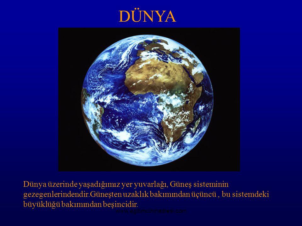 DÜNYA Dünya üzerinde yaşadığımız yer yuvarlağı, Güneş sisteminin gezegenlerindendir.Güneşten uzaklık bakımından üçüncü, bu sistemdeki büyüklüğü bakımı