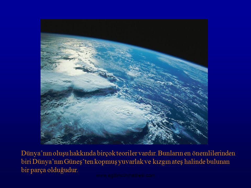 Dünya'nın oluşu hakkında birçok teoriler vardır. Bunların en önemlilerinden biri Dünya'nın Güneş'ten kopmuş yuvarlak ve kızgın ateş halinde bulunan bi