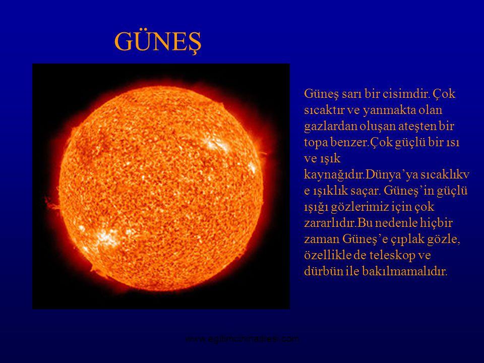 GÜNEŞ Güneş sarı bir cisimdir. Çok sıcaktır ve yanmakta olan gazlardan oluşan ateşten bir topa benzer.Çok güçlü bir ısı ve ışık kaynağıdır.Dünya'ya sı