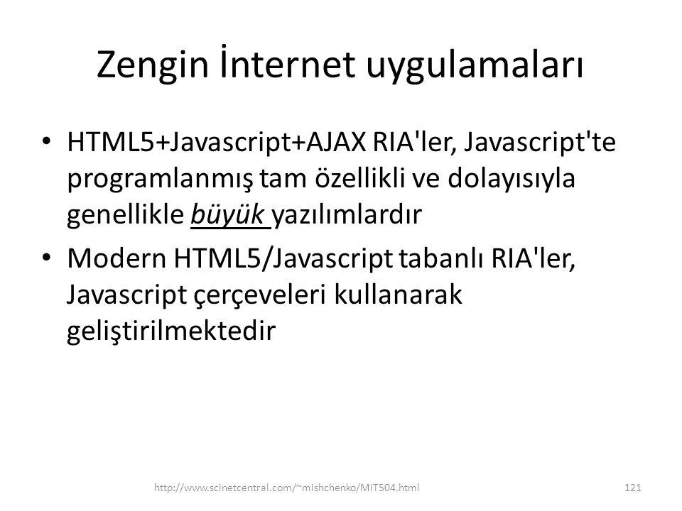 Zengin İnternet uygulamaları • HTML5+Javascript+AJAX RIA ler, Javascript te programlanmış tam özellikli ve dolayısıyla genellikle büyük yazılımlardır • Modern HTML5/Javascript tabanlı RIA ler, Javascript çerçeveleri kullanarak geliştirilmektedir http://www.scinetcentral.com/~mishchenko/MIT504.html121