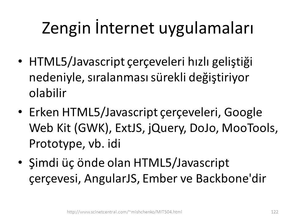 Zengin İnternet uygulamaları • HTML5/Javascript çerçeveleri hızlı geliştiği nedeniyle, sıralanması sürekli değiştiriyor olabilir • Erken HTML5/Javascript çerçeveleri, Google Web Kit (GWK), ExtJS, jQuery, DoJo, MooTools, Prototype, vb.