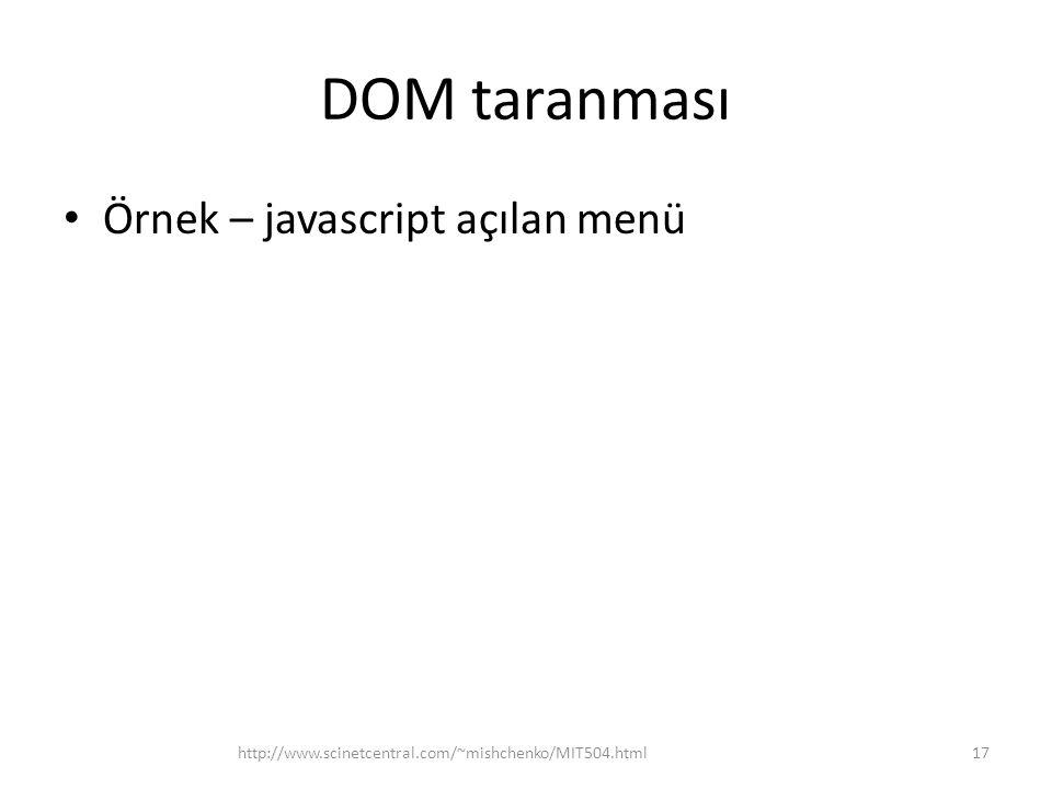 DOM taranması • Örnek – javascript açılan menü 17http://www.scinetcentral.com/~mishchenko/MIT504.html