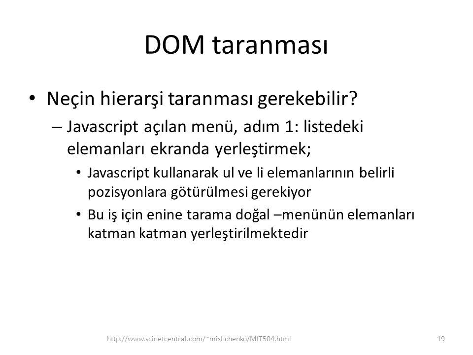 DOM taranması • Neçin hierarşi taranması gerekebilir.