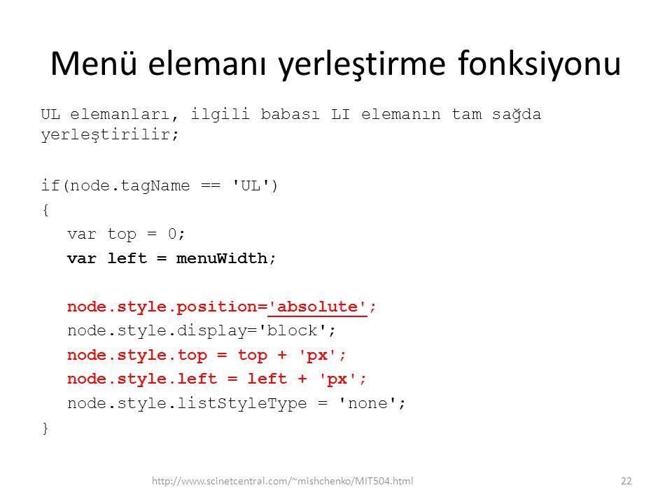 Menü elemanı yerleştirme fonksiyonu UL elemanları, ilgili babası LI elemanın tam sağda yerleştirilir; if(node.tagName == UL ) { var top = 0; var left = menuWidth; node.style.position= absolute ; node.style.display= block ; node.style.top = top + px ; node.style.left = left + px ; node.style.listStyleType = none ; } http://www.scinetcentral.com/~mishchenko/MIT504.html22