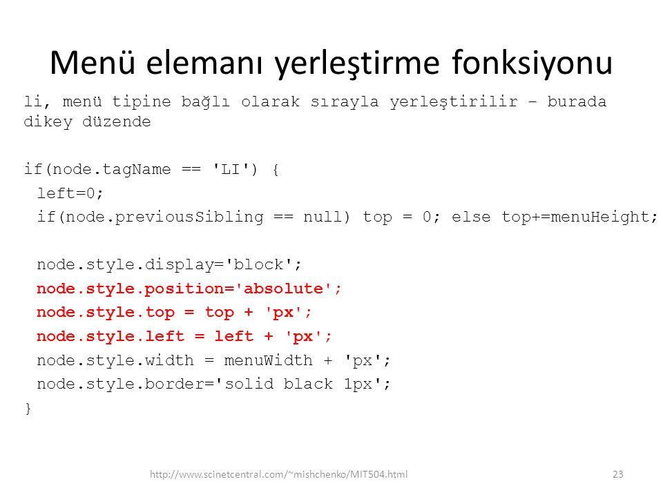 Menü elemanı yerleştirme fonksiyonu li, menü tipine bağlı olarak sırayla yerleştirilir – burada dikey düzende if(node.tagName == LI ) { left=0; if(node.previousSibling == null) top = 0; else top+=menuHeight; node.style.display= block ; node.style.position= absolute ; node.style.top = top + px ; node.style.left = left + px ; node.style.width = menuWidth + px ; node.style.border= solid black 1px ; } http://www.scinetcentral.com/~mishchenko/MIT504.html23