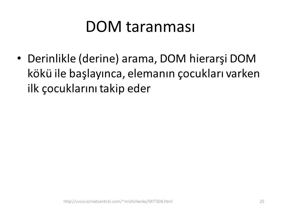 DOM taranması • Derinlikle (derine) arama, DOM hierarşi DOM kökü ile başlayınca, elemanın çocukları varken ilk çocuklarını takip eder 25http://www.scinetcentral.com/~mishchenko/MIT504.html