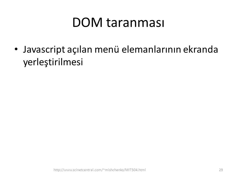 DOM taranması • Javascript açılan menü elemanlarının ekranda yerleştirilmesi 29http://www.scinetcentral.com/~mishchenko/MIT504.html