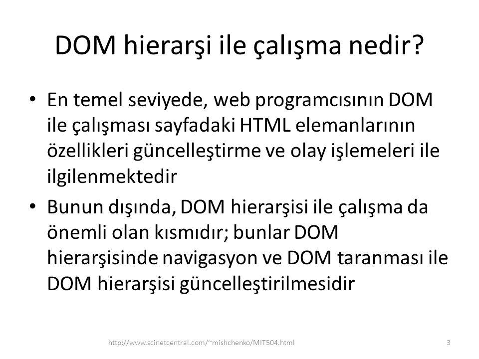 DOM hierarşi ile çalışma nedir.