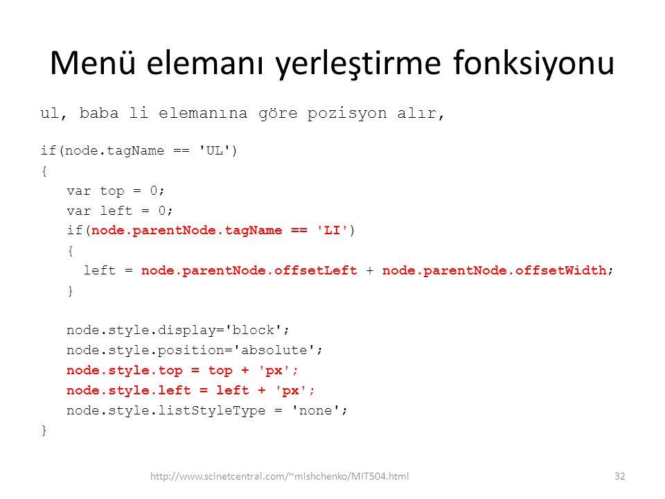 Menü elemanı yerleştirme fonksiyonu ul, baba li elemanına göre pozisyon alır, if(node.tagName == UL ) { var top = 0; var left = 0; if(node.parentNode.tagName == LI ) { left = node.parentNode.offsetLeft + node.parentNode.offsetWidth; } node.style.display= block ; node.style.position= absolute ; node.style.top = top + px ; node.style.left = left + px ; node.style.listStyleType = none ; } http://www.scinetcentral.com/~mishchenko/MIT504.html32