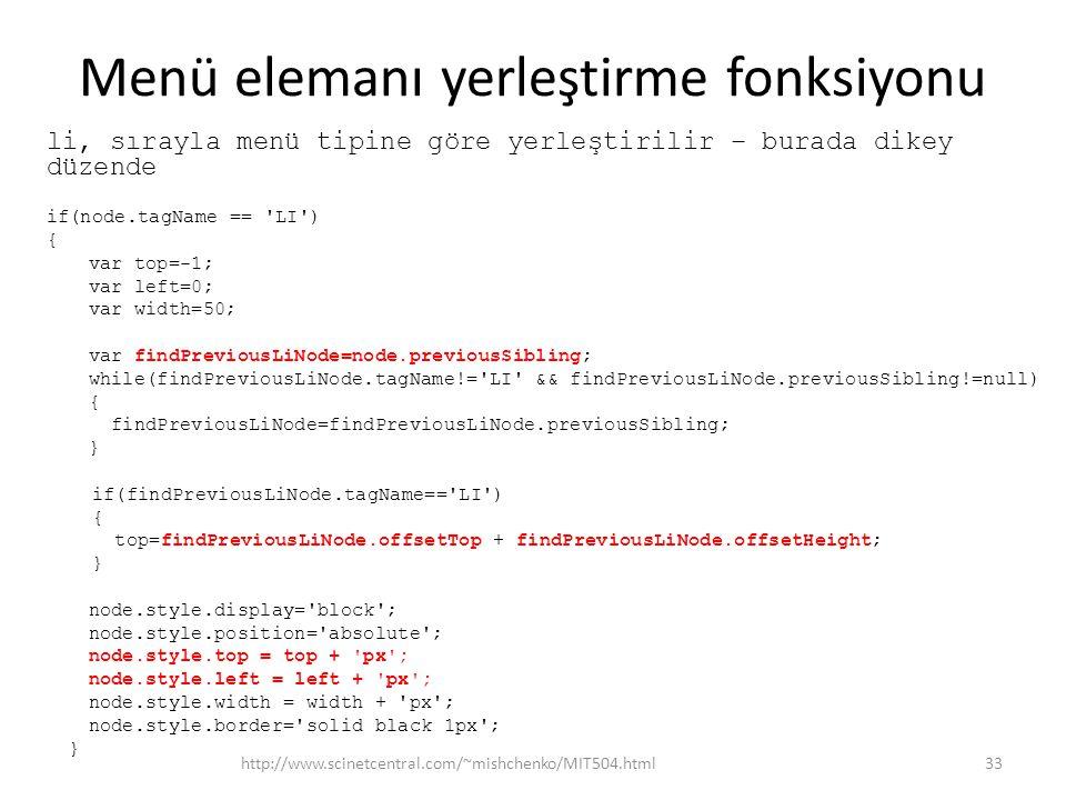Menü elemanı yerleştirme fonksiyonu li, sırayla menü tipine göre yerleştirilir – burada dikey düzende if(node.tagName == LI ) { var top=-1; var left=0; var width=50; var findPreviousLiNode=node.previousSibling; while(findPreviousLiNode.tagName!= LI && findPreviousLiNode.previousSibling!=null) { findPreviousLiNode=findPreviousLiNode.previousSibling; } if(findPreviousLiNode.tagName== LI ) { top=findPreviousLiNode.offsetTop + findPreviousLiNode.offsetHeight; } node.style.display= block ; node.style.position= absolute ; node.style.top = top + px ; node.style.left = left + px ; node.style.width = width + px ; node.style.border= solid black 1px ; } http://www.scinetcentral.com/~mishchenko/MIT504.html33
