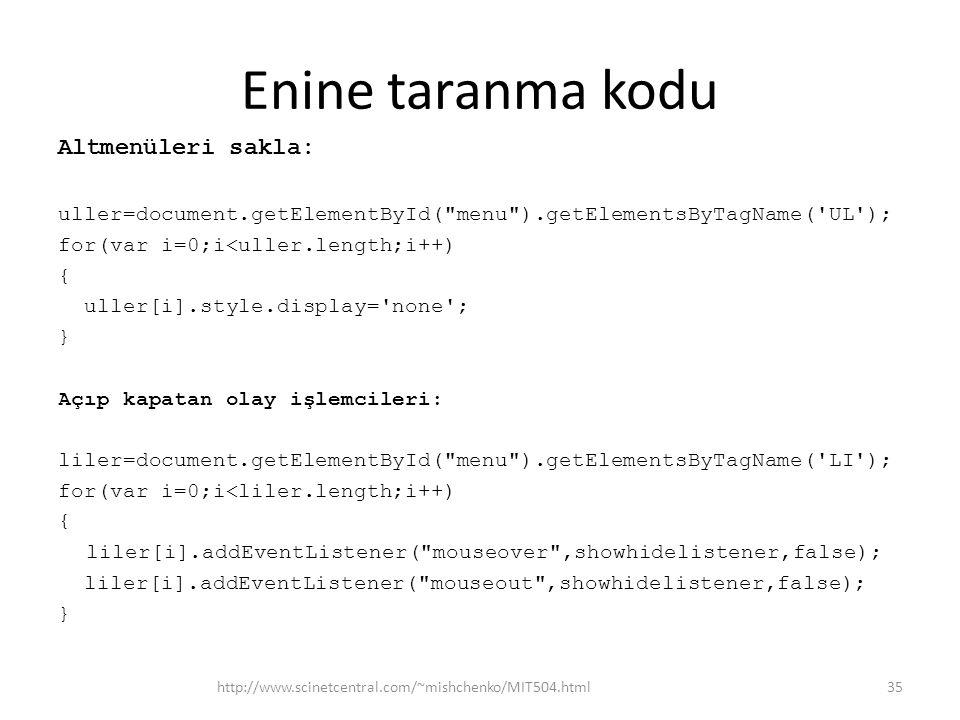 Enine taranma kodu Altmenüleri sakla: uller=document.getElementById( menu ).getElementsByTagName( UL ); for(var i=0;i<uller.length;i++) { uller[i].style.display= none ; } Açıp kapatan olay işlemcileri: liler=document.getElementById( menu ).getElementsByTagName( LI ); for(var i=0;i<liler.length;i++) { liler[i].addEventListener( mouseover ,showhidelistener,false); liler[i].addEventListener( mouseout ,showhidelistener,false); } http://www.scinetcentral.com/~mishchenko/MIT504.html35