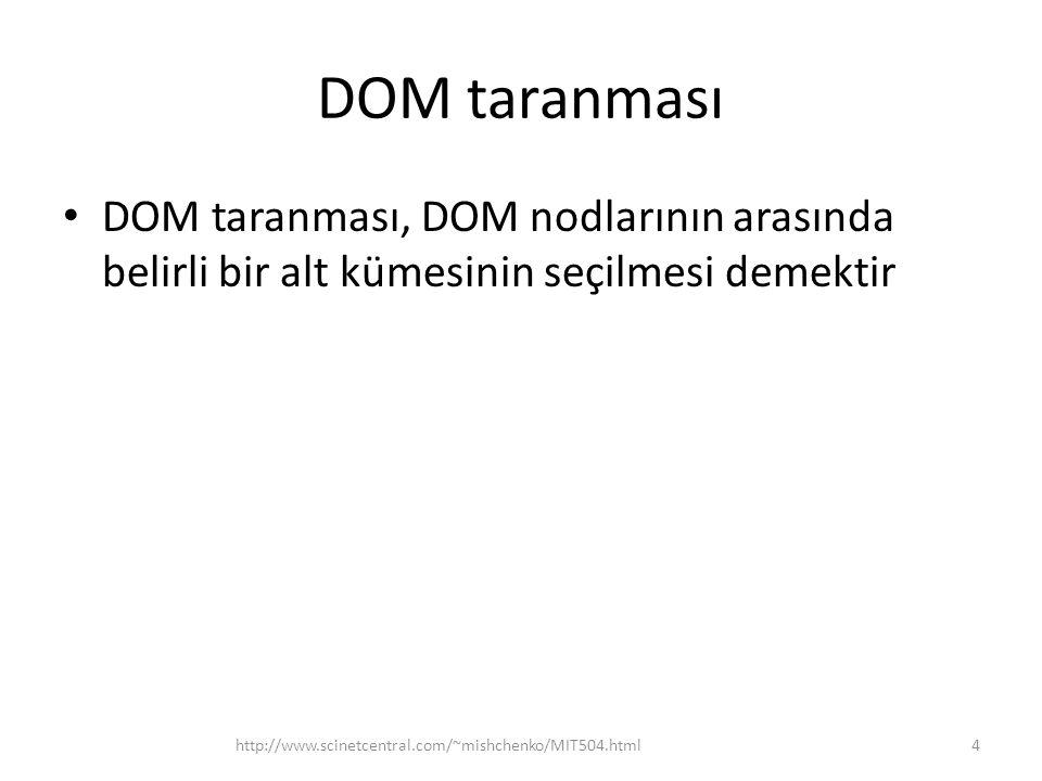 DOM taranması • DOM taranması, DOM nodlarının arasında belirli bir alt kümesinin seçilmesi demektir 4http://www.scinetcentral.com/~mishchenko/MIT504.html