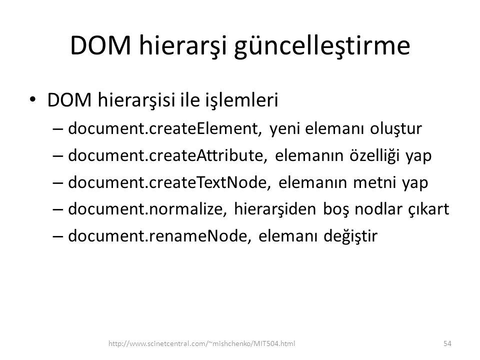 DOM hierarşi güncelleştirme • DOM hierarşisi ile işlemleri – document.createElement, yeni elemanı oluştur – document.createAttribute, elemanın özelliği yap – document.createTextNode, elemanın metni yap – document.normalize, hierarşiden boş nodlar çıkart – document.renameNode, elemanı değiştir 54http://www.scinetcentral.com/~mishchenko/MIT504.html
