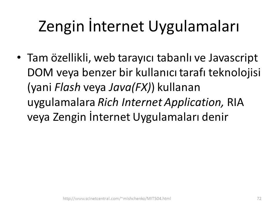Zengin İnternet Uygulamaları • Tam özellikli, web tarayıcı tabanlı ve Javascript DOM veya benzer bir kullanıcı tarafı teknolojisi (yani Flash veya Java(FX)) kullanan uygulamalara Rich Internet Application, RIA veya Zengin İnternet Uygulamaları denir http://www.scinetcentral.com/~mishchenko/MIT504.html72
