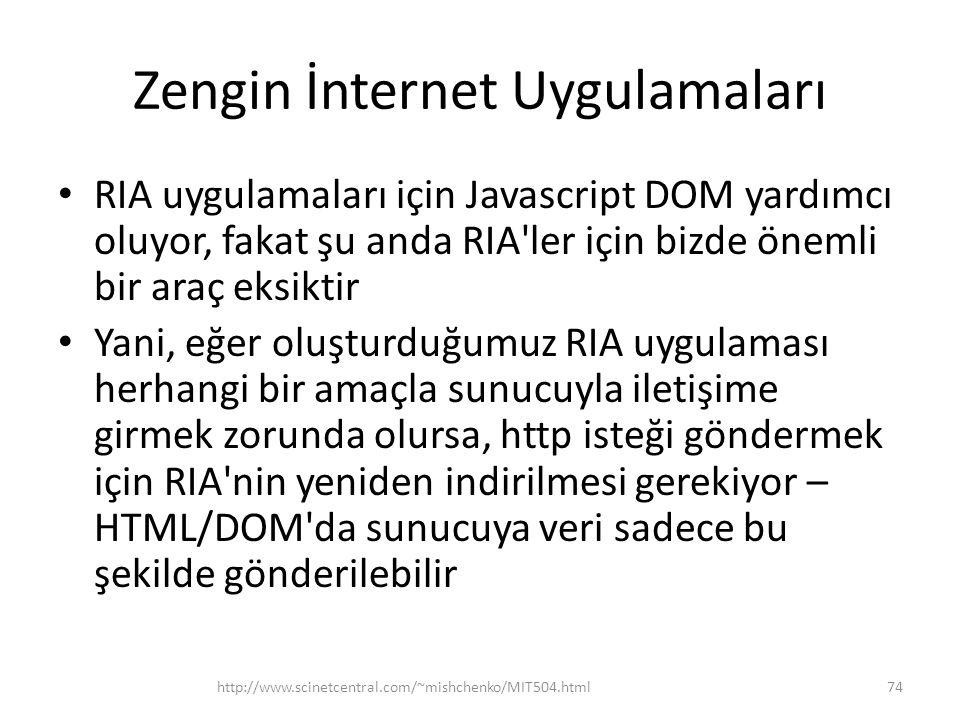 Zengin İnternet Uygulamaları • RIA uygulamaları için Javascript DOM yardımcı oluyor, fakat şu anda RIA ler için bizde önemli bir araç eksiktir • Yani, eğer oluşturduğumuz RIA uygulaması herhangi bir amaçla sunucuyla iletişime girmek zorunda olursa, http isteği göndermek için RIA nin yeniden indirilmesi gerekiyor – HTML/DOM da sunucuya veri sadece bu şekilde gönderilebilir http://www.scinetcentral.com/~mishchenko/MIT504.html74