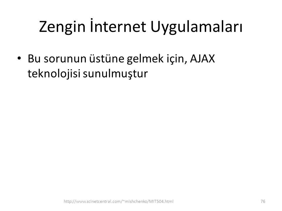 Zengin İnternet Uygulamaları • Bu sorunun üstüne gelmek için, AJAX teknolojisi sunulmuştur http://www.scinetcentral.com/~mishchenko/MIT504.html76