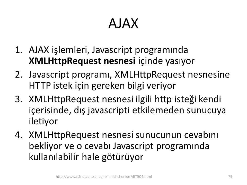AJAX 1.AJAX işlemleri, Javascript programında XMLHttpRequest nesnesi içinde yasıyor 2.Javascript programı, XMLHttpRequest nesnesine HTTP istek için gereken bilgi veriyor 3.XMLHttpRequest nesnesi ilgili http isteği kendi içerisinde, dış javascripti etkilemeden sunucuya iletiyor 4.XMLHttpRequest nesnesi sunucunun cevabını bekliyor ve o cevabı Javascript programında kullanılabilir hale götürüyor http://www.scinetcentral.com/~mishchenko/MIT504.html79