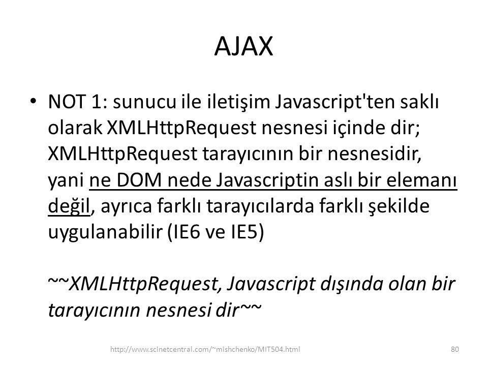AJAX • NOT 1: sunucu ile iletişim Javascript ten saklı olarak XMLHttpRequest nesnesi içinde dir; XMLHttpRequest tarayıcının bir nesnesidir, yani ne DOM nede Javascriptin aslı bir elemanı değil, ayrıca farklı tarayıcılarda farklı şekilde uygulanabilir (IE6 ve IE5) ~~XMLHttpRequest, Javascript dışında olan bir tarayıcının nesnesi dir~~ http://www.scinetcentral.com/~mishchenko/MIT504.html80
