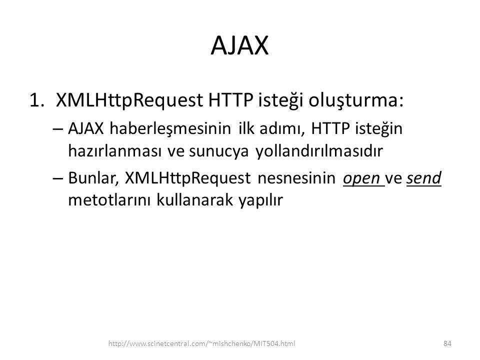 AJAX 1.XMLHttpRequest HTTP isteği oluşturma: – AJAX haberleşmesinin ilk adımı, HTTP isteğin hazırlanması ve sunucya yollandırılmasıdır – Bunlar, XMLHttpRequest nesnesinin open ve send metotlarını kullanarak yapılır http://www.scinetcentral.com/~mishchenko/MIT504.html84