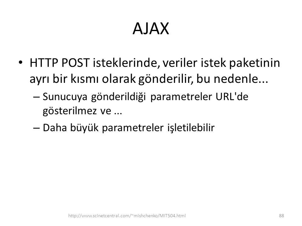 AJAX • HTTP POST isteklerinde, veriler istek paketinin ayrı bir kısmı olarak gönderilir, bu nedenle...