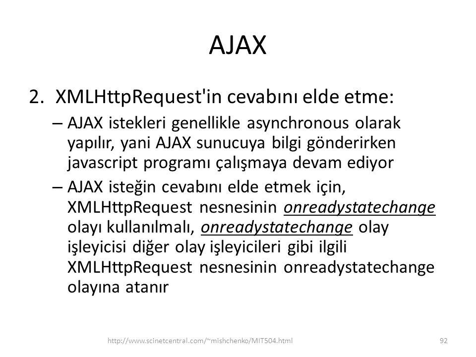 AJAX 2.XMLHttpRequest in cevabını elde etme: – AJAX istekleri genellikle asynchronous olarak yapılır, yani AJAX sunucuya bilgi gönderirken javascript programı çalışmaya devam ediyor – AJAX isteğin cevabını elde etmek için, XMLHttpRequest nesnesinin onreadystatechange olayı kullanılmalı, onreadystatechange olay işleyicisi diğer olay işleyicileri gibi ilgili XMLHttpRequest nesnesinin onreadystatechange olayına atanır http://www.scinetcentral.com/~mishchenko/MIT504.html92