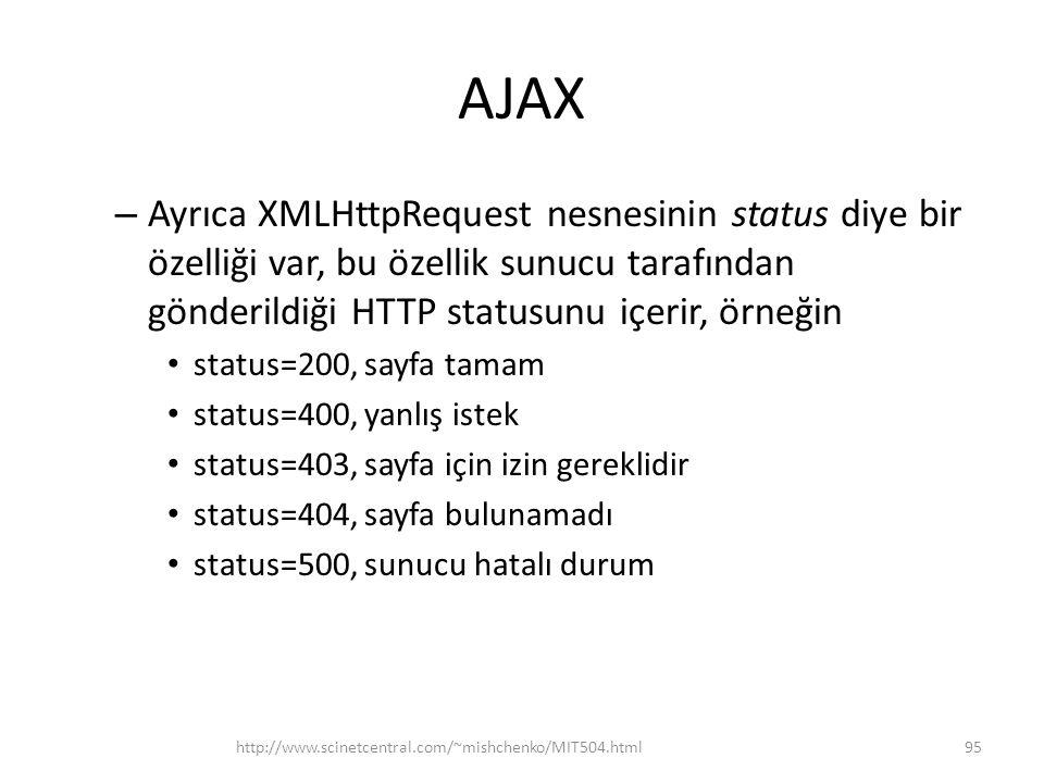AJAX – Ayrıca XMLHttpRequest nesnesinin status diye bir özelliği var, bu özellik sunucu tarafından gönderildiği HTTP statusunu içerir, örneğin • status=200, sayfa tamam • status=400, yanlış istek • status=403, sayfa için izin gereklidir • status=404, sayfa bulunamadı • status=500, sunucu hatalı durum http://www.scinetcentral.com/~mishchenko/MIT504.html95