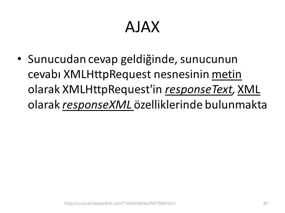 AJAX • Sunucudan cevap geldiğinde, sunucunun cevabı XMLHttpRequest nesnesinin metin olarak XMLHttpRequest in responseText, XML olarak responseXML özelliklerinde bulunmakta http://www.scinetcentral.com/~mishchenko/MIT504.html97