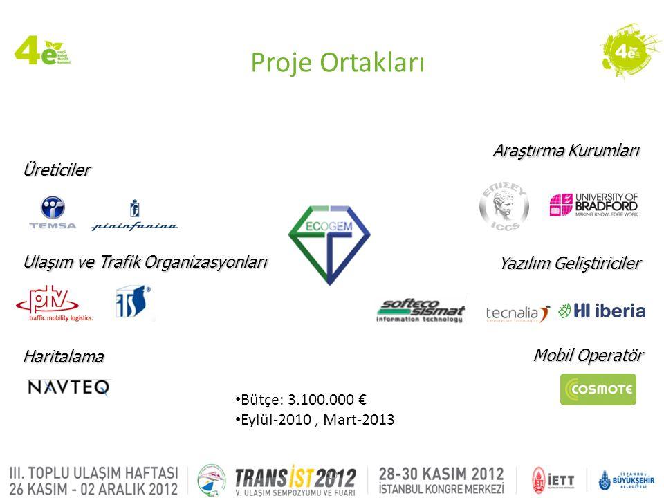 10 Mobil Operatör Yazılım Geliştiriciler Araştırma Kurumları Ulaşım ve Trafik Organizasyonları Haritalama Üreticiler • Bütçe: 3.100.000 € • Eylül-2010