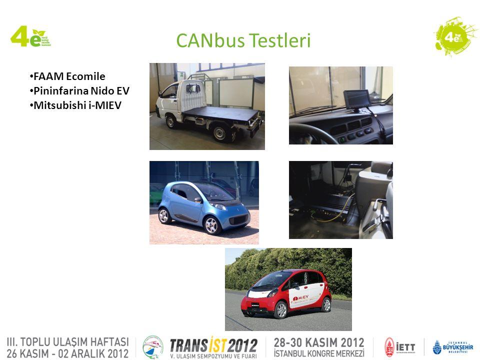 CANbus Testleri • FAAM Ecomile • Pininfarina Nido EV • Mitsubishi i-MIEV