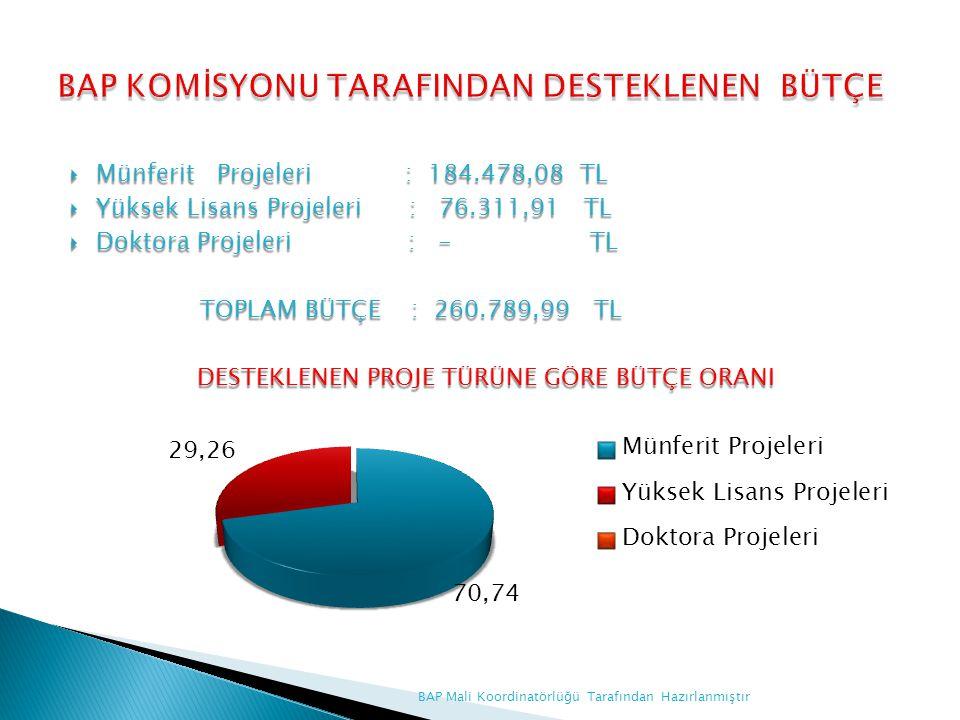  Münferit Projeleri : 184.478,08 TL  Yüksek Lisans Projeleri : 76.311,91 TL  Doktora Projeleri : - TL TOPLAM BÜTÇE : 260.789,99 TL TOPLAM BÜTÇE : 2
