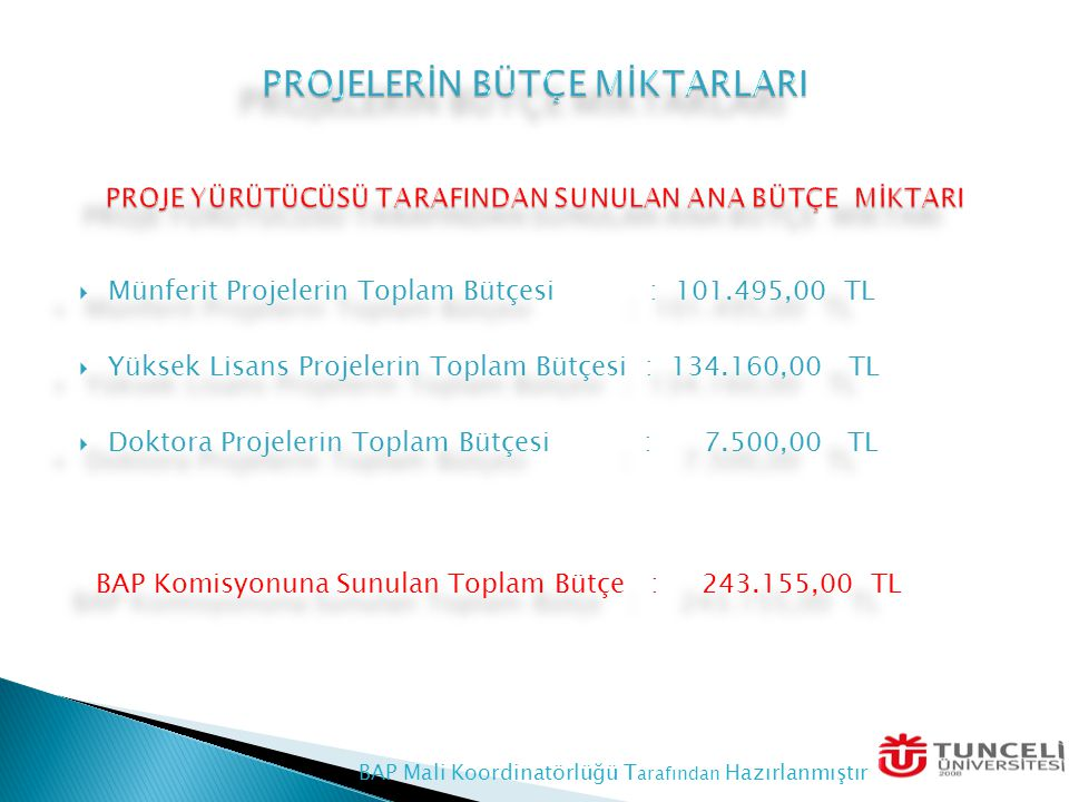  Münferit Projeleri : 44.913,13 TL  Yüksek Lisans Projeleri : 83,075,95 TL  Doktora Projeleri : 6.402,19 TL TOPLAM BÜTÇE : 134.391,26 TL DESTEKLENEN PROJE TÜRÜNE GÖRE BÜTÇE ORANI  Münferit Projeleri : 44.913,13 TL  Yüksek Lisans Projeleri : 83,075,95 TL  Doktora Projeleri : 6.402,19 TL TOPLAM BÜTÇE : 134.391,26 TL DESTEKLENEN PROJE TÜRÜNE GÖRE BÜTÇE ORANI BAP Mali Koordinatörlüğü Tarafından Hazırlanmıştır