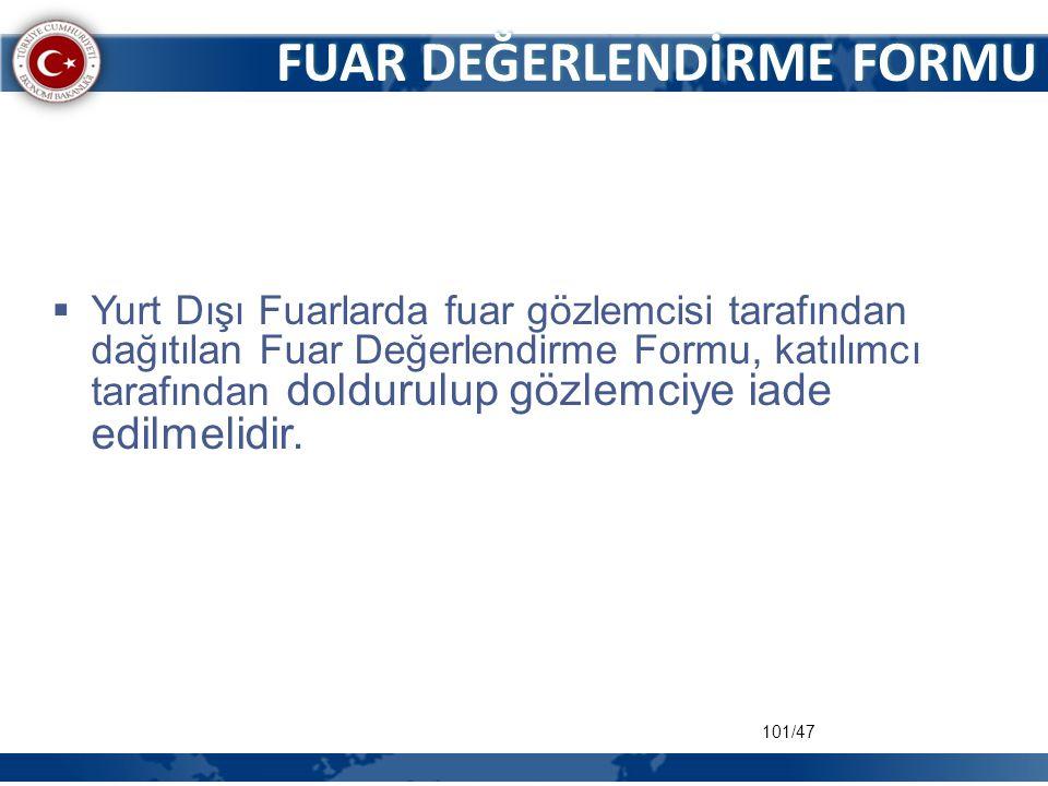 101/47 FUAR DEĞERLENDİRME FORMU  Yurt Dışı Fuarlarda fuar gözlemcisi tarafından dağıtılan Fuar Değerlendirme Formu, katılımcı tarafından doldurulup g