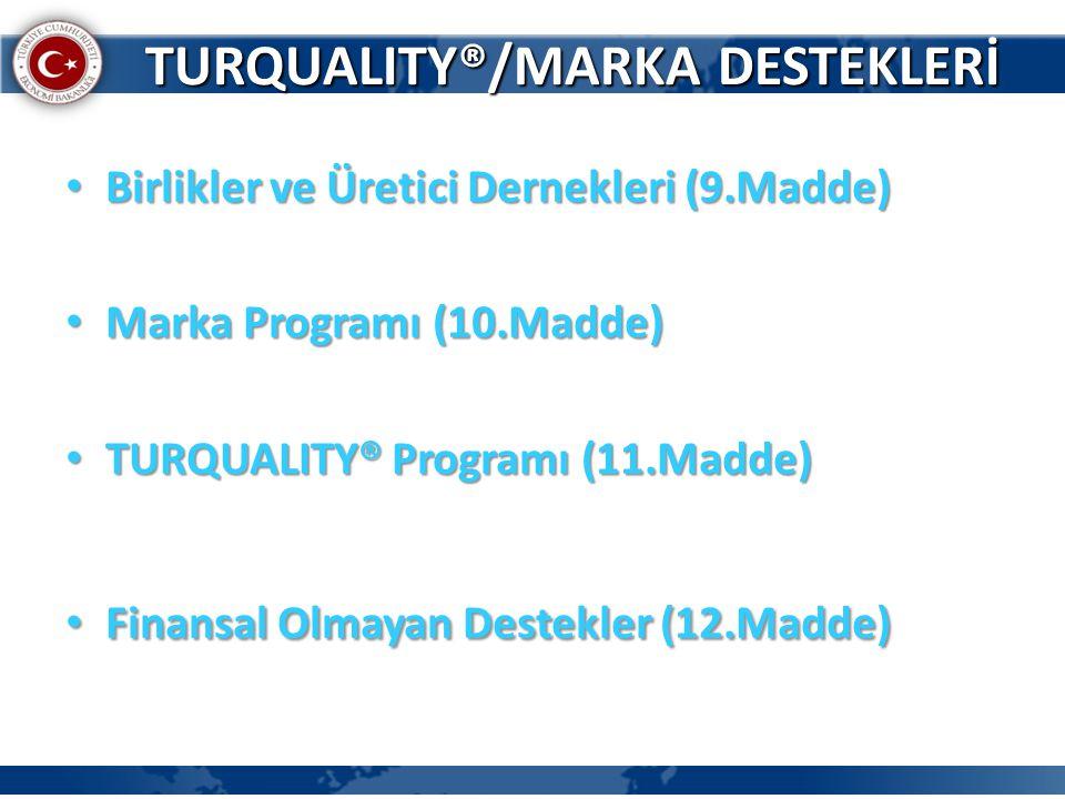 • Birlikler ve Üretici Dernekleri (9.Madde) • Marka Programı (10.Madde) • TURQUALITY® Programı (11.Madde) • Finansal Olmayan Destekler (12.Madde) TURQ
